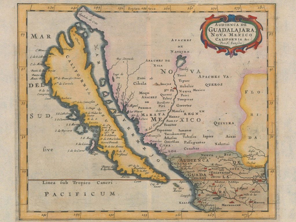 Nicolas Sanson map showing California as an island (1656).