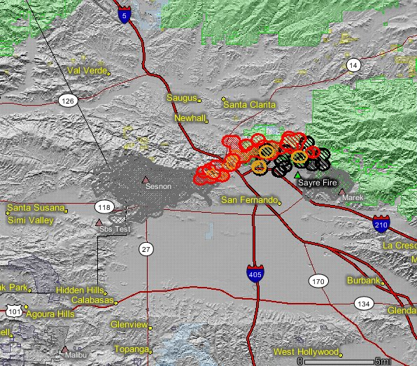 Sayre Sylmar Fire thermal map (2008).