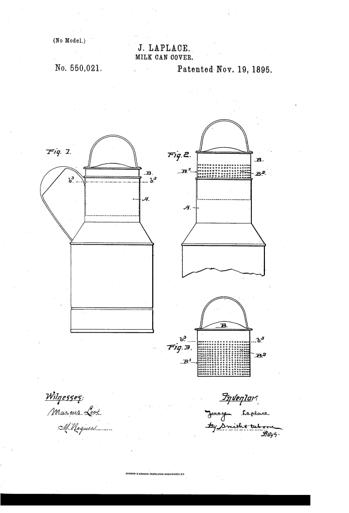 Jenny LaPlace milk can cover patent (1895).