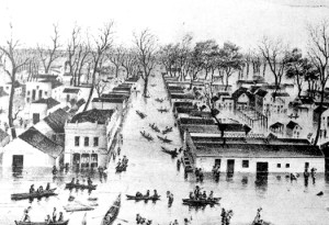 Sacramento flooded in the winter of 1849 - 1850.