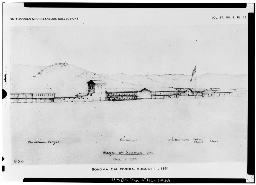 Sonoma Plaza drawing by George Gibbs (1851).