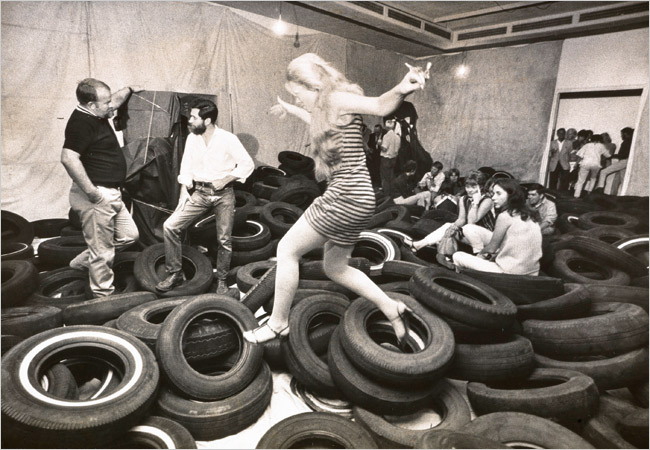 "Allan Kaprow's ""Yard"" at the Pasadena Art Museum (1967)."