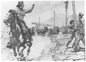 Pony Express rider passing a transcontinental telegraph construction crew.