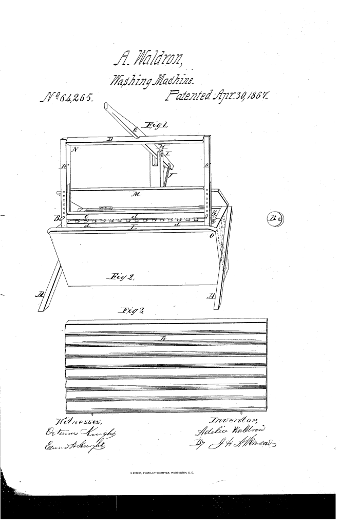 Adelia Waldron patent for an improved washing machine (1867).