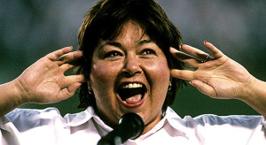 Roseanne Barr sings the national anthem (1990).