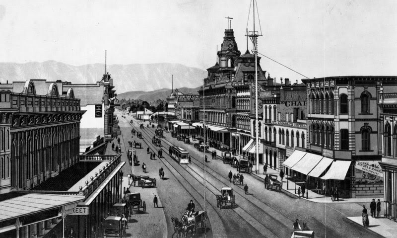 Main Street, Los Angeles. Baker Block is just right of center (1880s).
